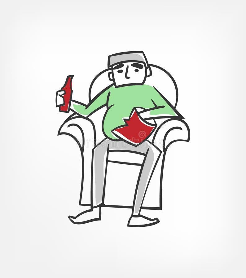 Los microprocesadores de la cerveza descansan el clip art del ejemplo del vector del carácter stock de ilustración