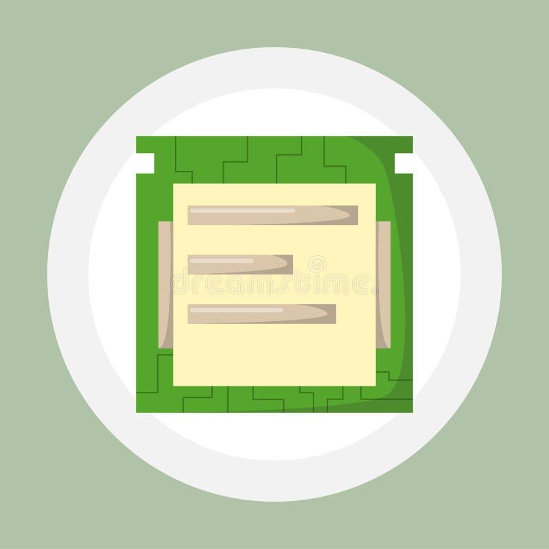 Los microprocesadores de la CPU aislaron el equipo del componente de hardware del microchip e integraron memoria de la comunicaci ilustración del vector