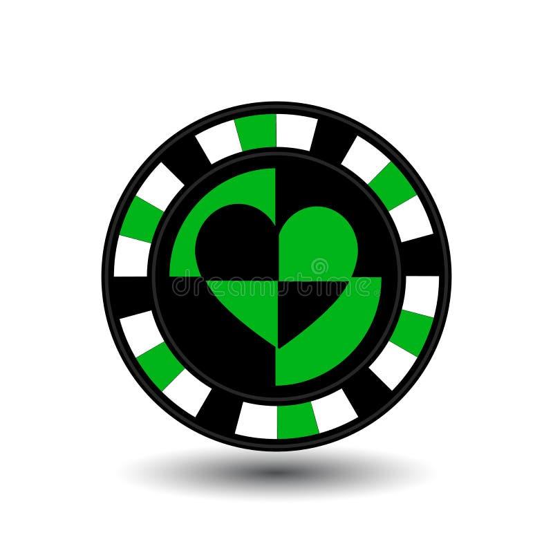 Los microprocesadores para el póker ponen verde un corazón del traje un icono en el fondo aislado blanco Ejemplo EPS 10 Para util ilustración del vector