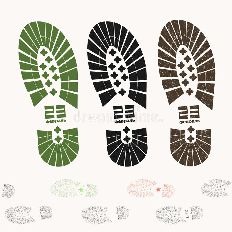 Los militares arrastran botas del tobillo con los lenguados el 23 de febrero texturizado - vector eps10 libre illustration