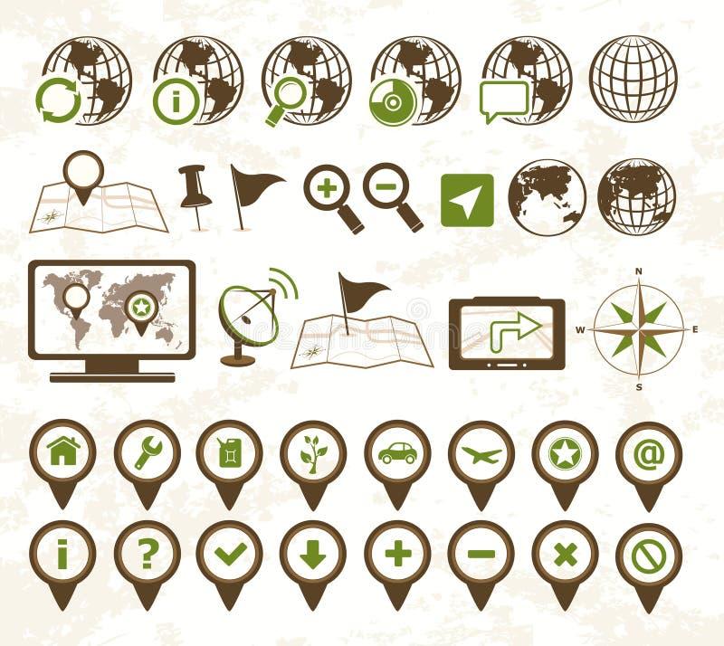 Los militares de los iconos de la localización labran libre illustration