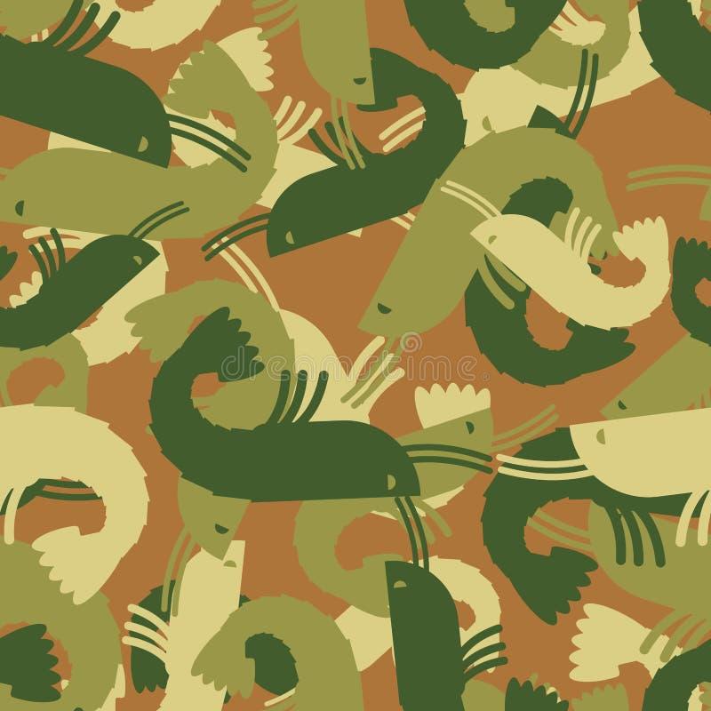 Los militares texturizan el camarón modelo inconsútil del ejército del plancton proteja ilustración del vector