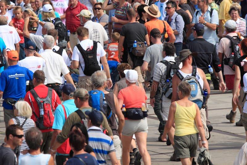 Los millares de gente caminan con caminar de cuatro días en Países Bajos imagen de archivo libre de regalías
