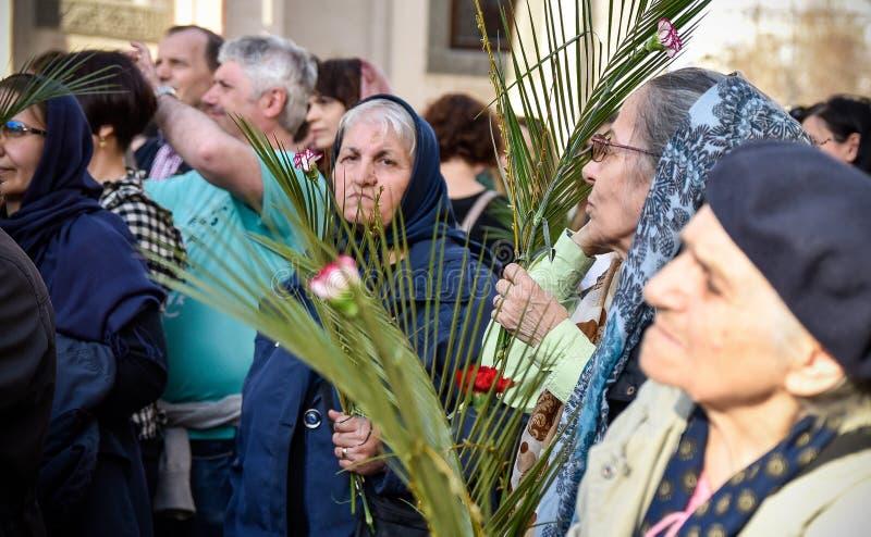 Los millares de sacerdotes ortodoxos en la calle celebran Ramos Domingo ortodoxo en Rumania imagenes de archivo