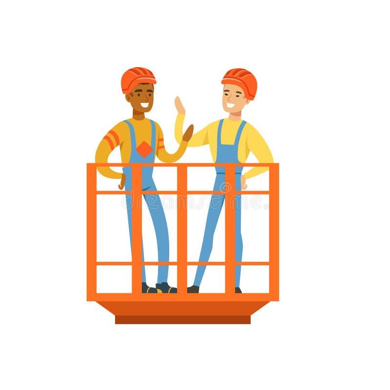 Los mineros de sexo masculino que hablan y sonrientes en el uniforme que se coloca en el mío levantan, los mineros profesionales  libre illustration