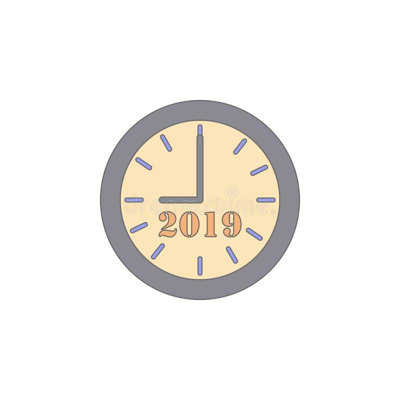 Los minutos del último del reloj de la Navidad colorearon el icono Elemento del icono coloreado día de fiesta de la Navidad Icono ilustración del vector