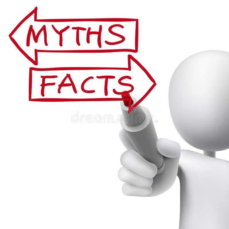Los mitos o los hechos redactan escrito por el hombre 3d ilustración del vector
