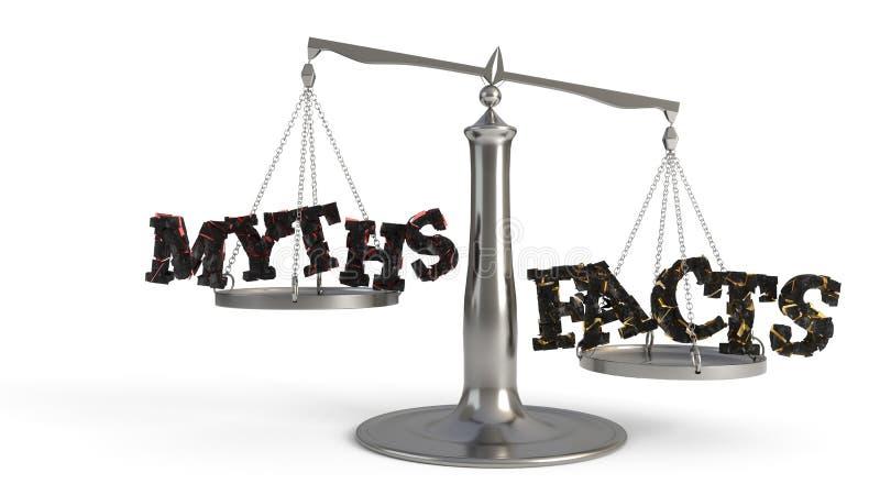 Los mitos y el concepto de las escalas de los hechos estudian, la representación 3d libre illustration