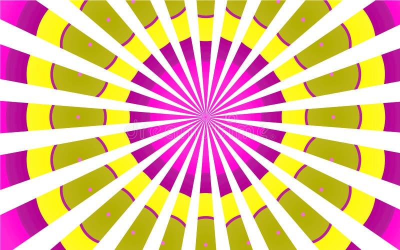Los modelos brillantes coloridos multicolores de los rayos blancos amarillos violetas abigarrados, circular se nublan el fondo ilustración del vector