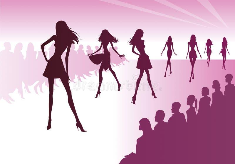 Los modelos de moda representan la nueva ropa ilustración del vector