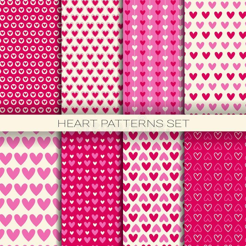 Los modelos del corazón fijaron los fondos inconsútiles para Valentine Day libre illustration