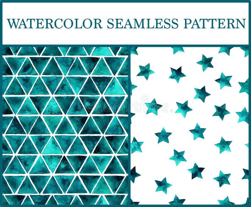 Los modelos inconsútiles de la acuarela fijaron con los triángulos y la estrella esmeralda libre illustration