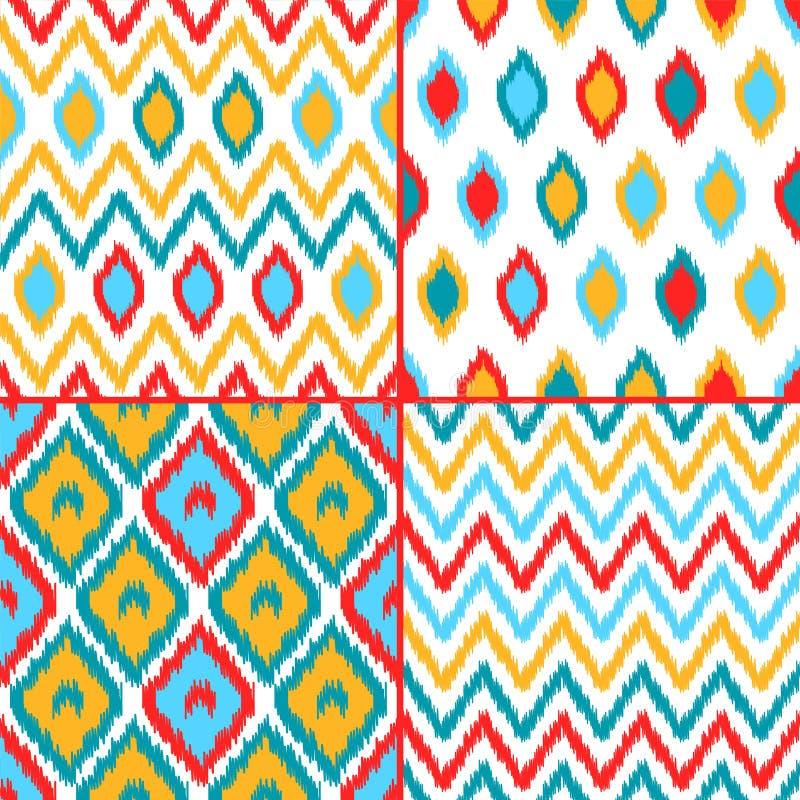 Los modelos inconsútiles de la tela tradicional asiática geométrica colorida del ikat fijaron de cuatro, vector stock de ilustración