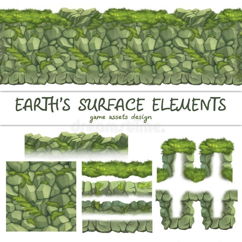 Los modelos inconsútiles de tierra fijaron para el elemento del juego de Ui ilustración del vector