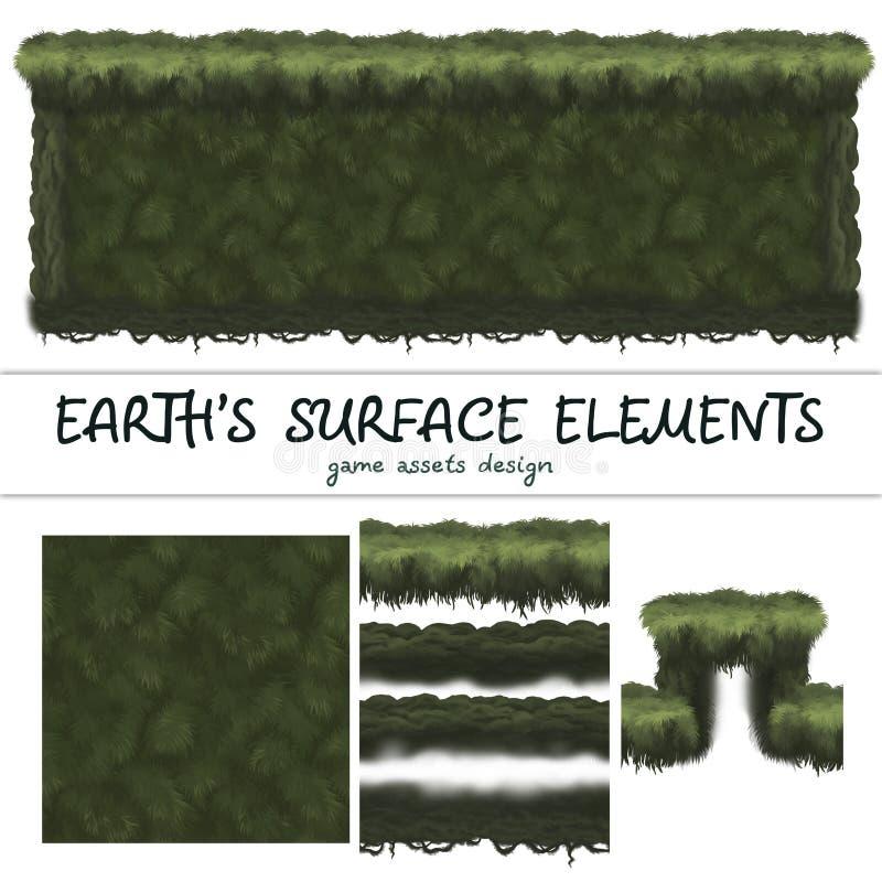 Los modelos inconsútiles de tierra fijaron para el elemento del juego de Ui libre illustration