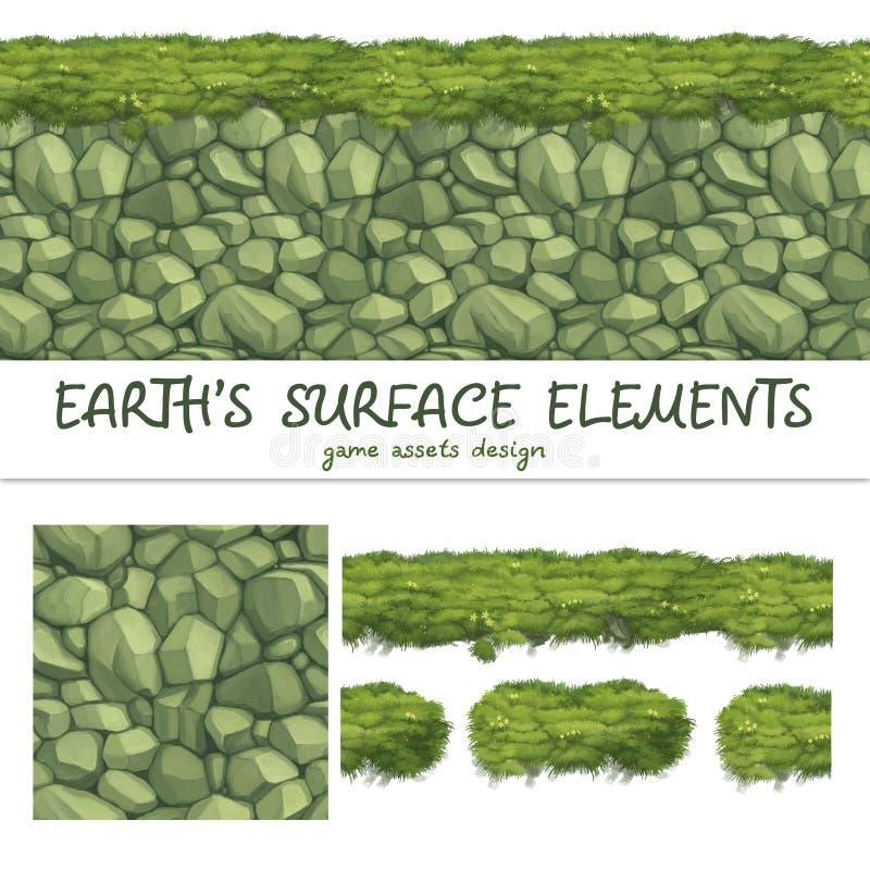 Los modelos inconsútiles de tierra fijaron para el elemento del juego de Ui stock de ilustración