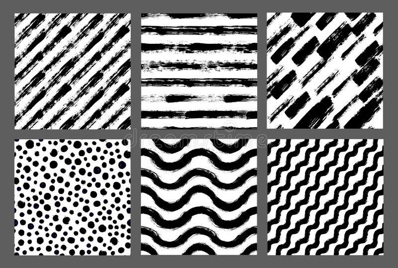 Los modelos pintados dan los fondos exhaustos Dots Stripes Chevron stock de ilustración