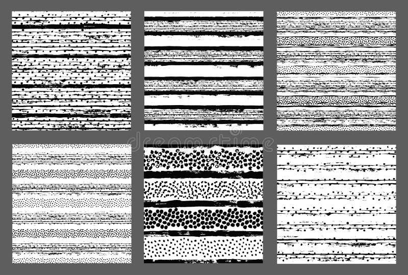Los modelos pintados dan los fondos exhaustos Dots Stripes stock de ilustración