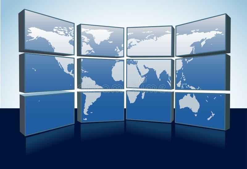 Los monitores de la correspondencia de mundo visualizan la correspondencia de la tierra en las pantallas libre illustration