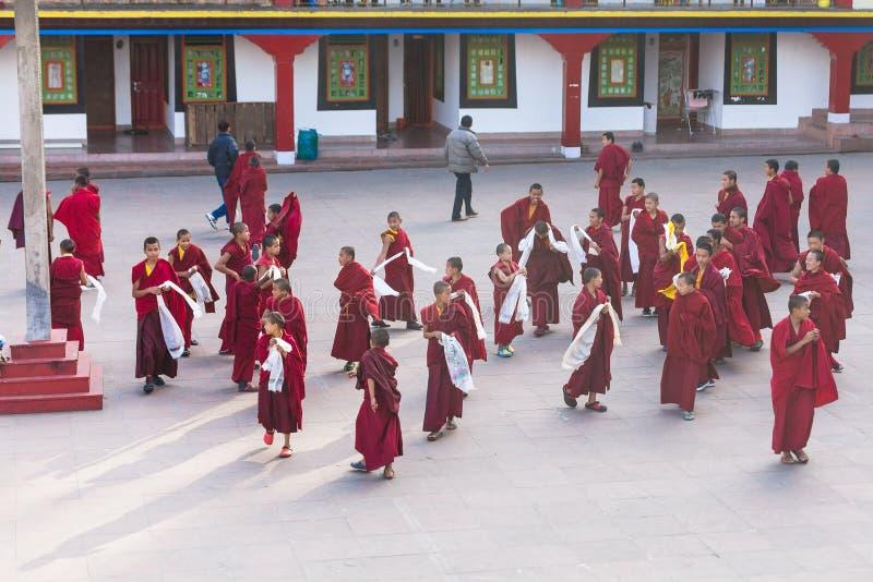 Los monjes jovenes tibetanos caminan y juegan delante del monasterio de Rumtek después de monje de alto nivel llegaron cerca de G imágenes de archivo libres de regalías