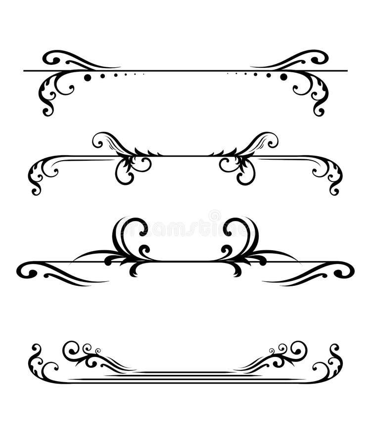 Los monogramas y las fronteras florales elegantes diseñan las plantillas para las etiquetas de los menús de las invitaciones que  libre illustration