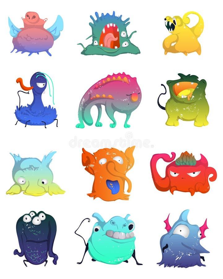 Los monstruos lindos fijaron Colección divertida de los caracteres de la fantasía Elementos del concepto de diseño para la impres stock de ilustración