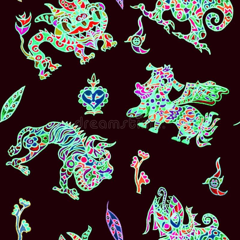 Los monstruos míticos del ornamento étnico inspiraron por la fusión de los adornos tradicionales del ucraniano, indios y mexicano stock de ilustración