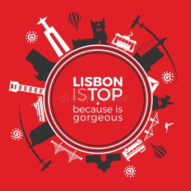 Los monumentos del viaje son Lisboa ilustración del vector