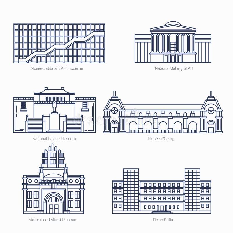 Los monumentos enrarecen la línea iconos del vector National Gallery del arte, museo de palacio nacional, Orsay stock de ilustración