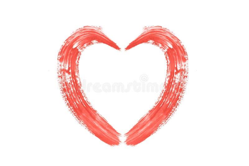Los movimientos coralinos de vida del cepillo formaron el corazón hecho con la pintura acrílica, aislada en blanco Color de los 2 foto de archivo libre de regalías