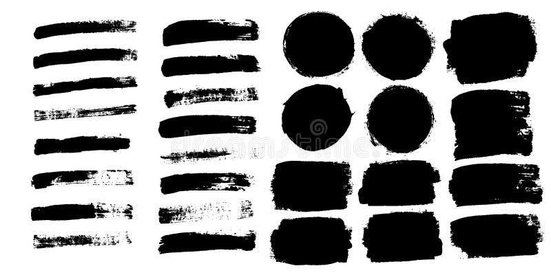Los movimientos del cepillo fijaron aislado en el fondo blanco Brocha negra r Diseño de la tinta del arte Frontera libre illustration