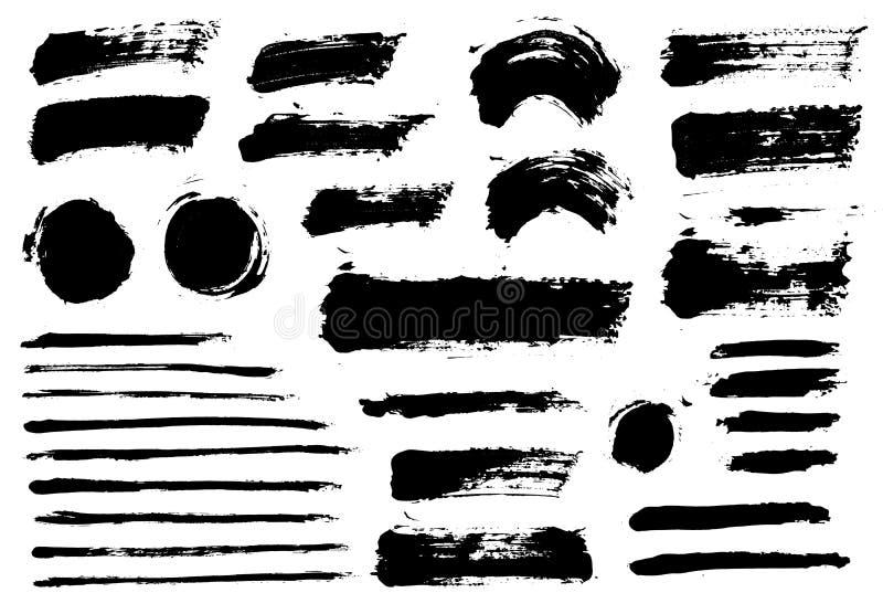 Los movimientos del cepillo fijaron objetos aislados pintados vector stock de ilustración