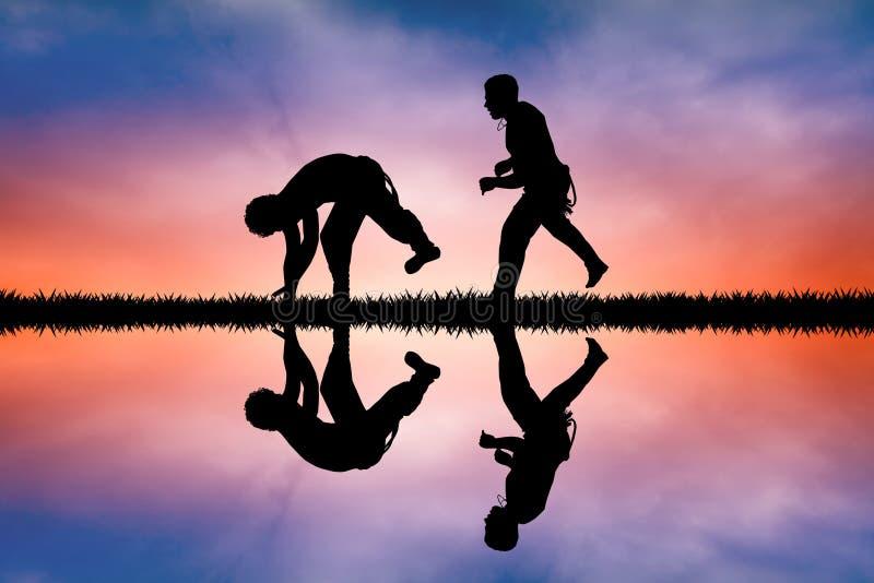 Los muchachos bailan capoeira en la puesta del sol libre illustration