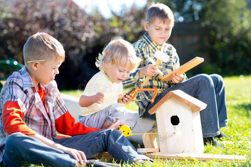 Los muchachos de los niños juegan y construyen la pajarera que se sienta en hierba verde imagen de archivo