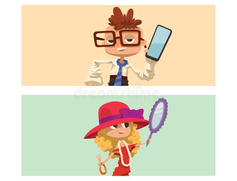 Los muchachos felices del niño de las tarjetas del muchacho y de la muchacha se vistieron como el ejemplo crecido del vector del  libre illustration