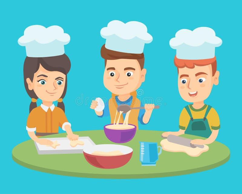 Los muchachos y la muchacha caucásicos en sombreros del cocinero cocinan las galletas ilustración del vector