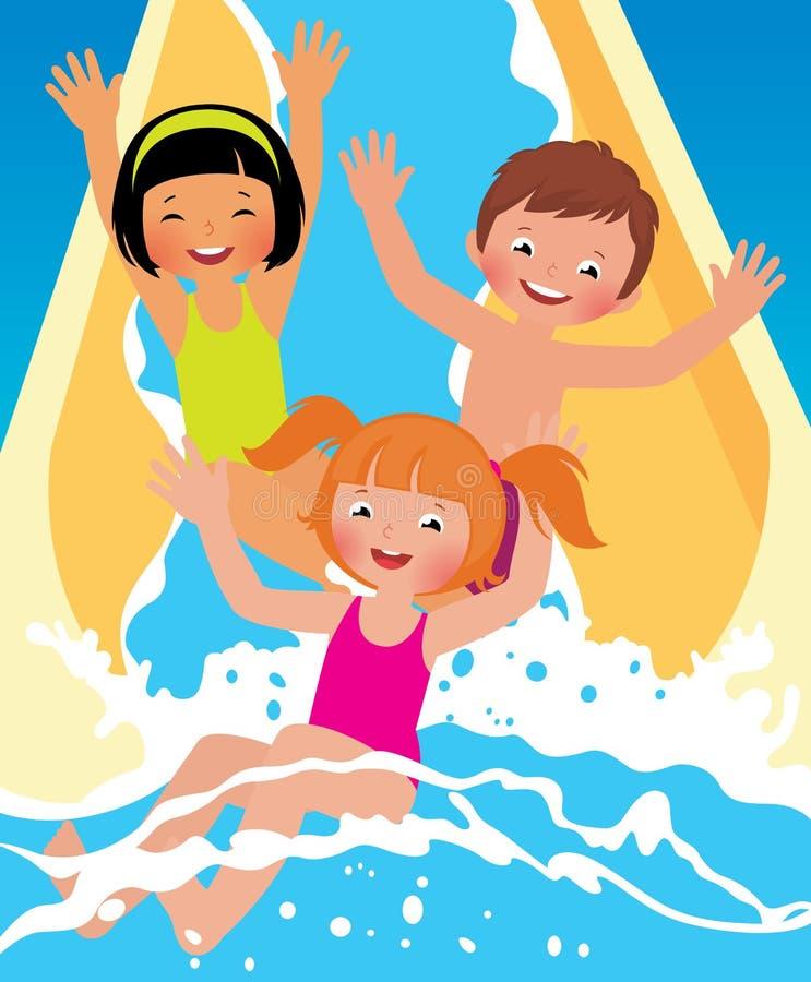 Los muchachos y la muchacha del niño que juegan en agua parquean ilustración del vector