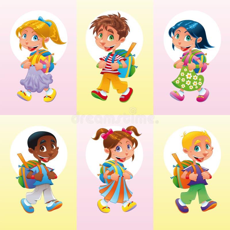 Los muchachos y las muchachas van a la escuela stock de ilustración
