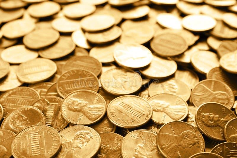 Los muchos E.E.U.U. brillantes monedas de un centavo fotografía de archivo