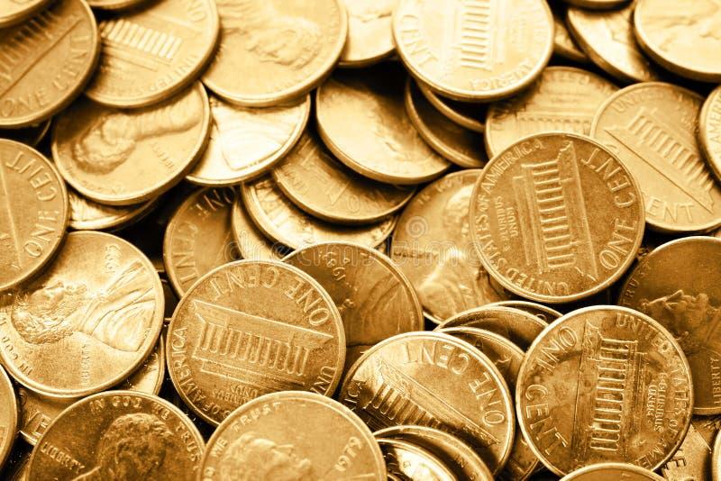 Los muchos E.E.U.U. brillantes monedas de un centavo foto de archivo libre de regalías