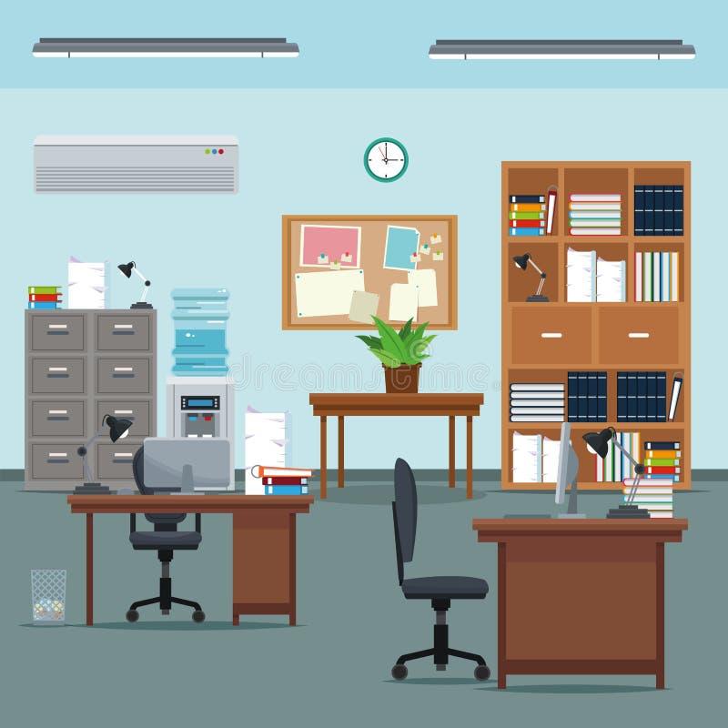 Los muebles de la planta de la tabla de la silla de escritorio del espacio de trabajo de la oficina reservan el reloj de agua del libre illustration