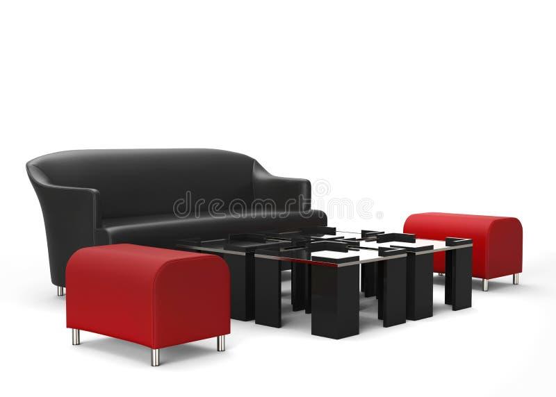 Los Muebles De La Sala De Estar Fijaron - Los Otomanos Rojos En Foco ...