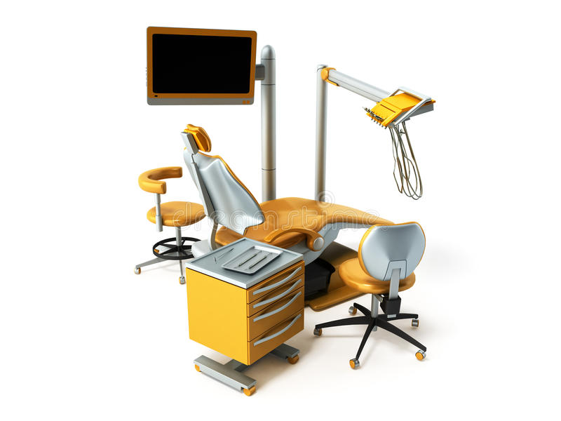 Los muebles dentales 3D rinden encendido escriben el fondo stock de ilustración