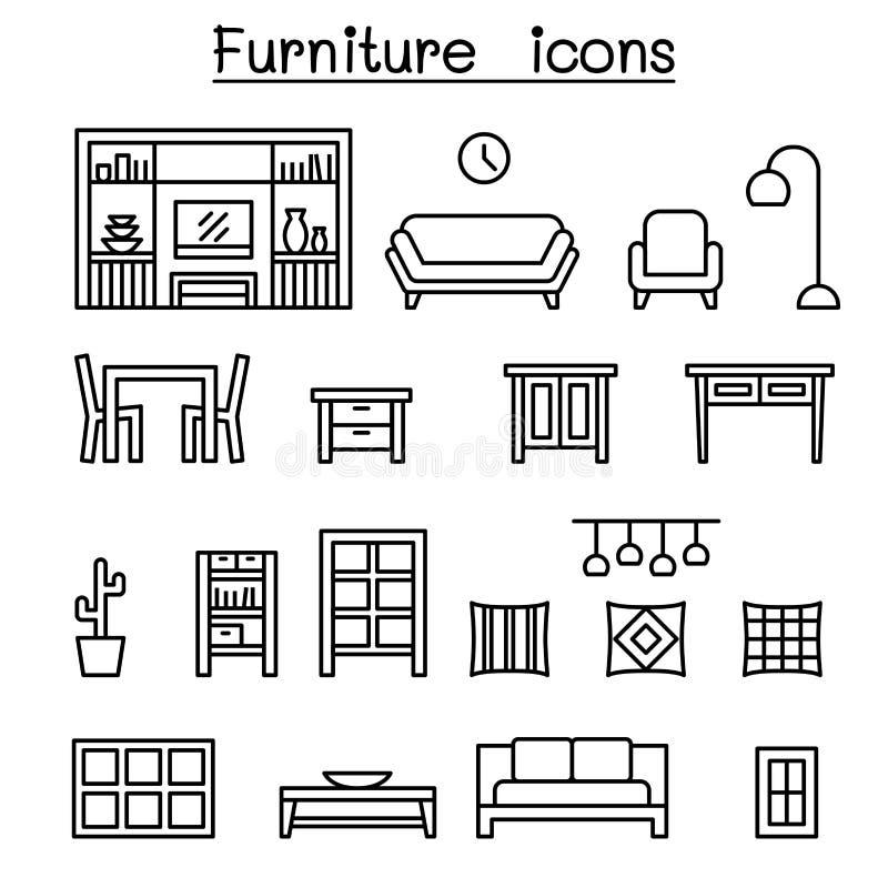 Los muebles y el hogar adornan el icono de los artículos fijado en la línea estilo fina stock de ilustración