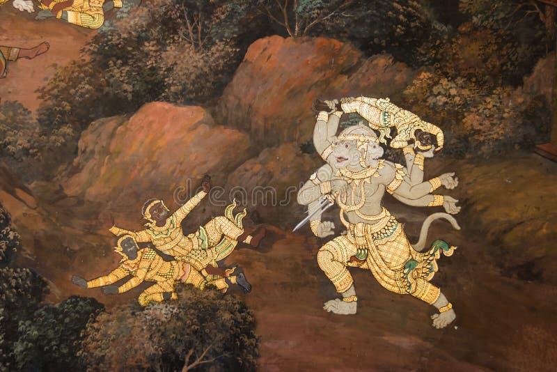 Los murales de Ramayana en Wat Phra Kaew imagen de archivo libre de regalías