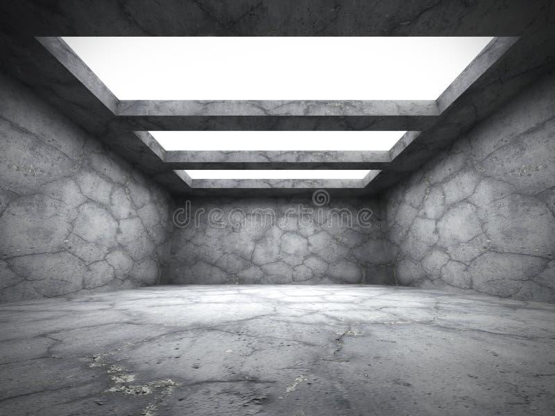 Los muros de cemento vacian el sitio oscuro con las luces de techo libre illustration