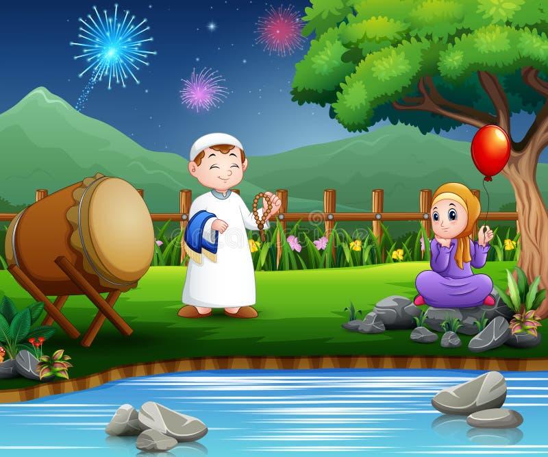Los musulmanes felices de los pares celebran el Ramadán en la naturaleza libre illustration