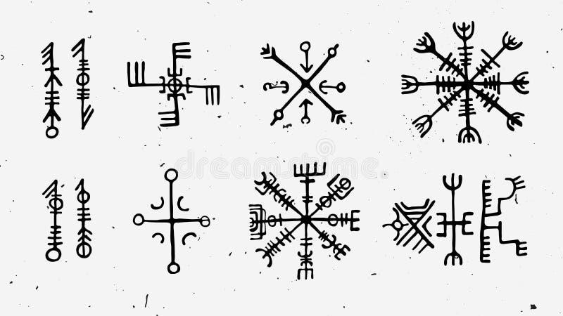Los nórdises de Futhark islandic y runas de vikingo fijadas Símbolos mágicos del drenaje de la mano como talismanes con guión Sis stock de ilustración