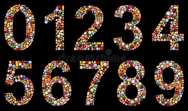 Los números 0 a 9 hicieron de píldoras clasificadas ilustración del vector