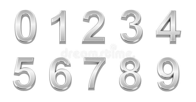 los números del cromo 3D fijaron a partir la 0 a 9 stock de ilustración